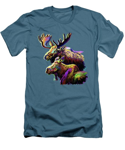 Colorful Moose Men's T-Shirt (Slim Fit) by Anthony Mwangi