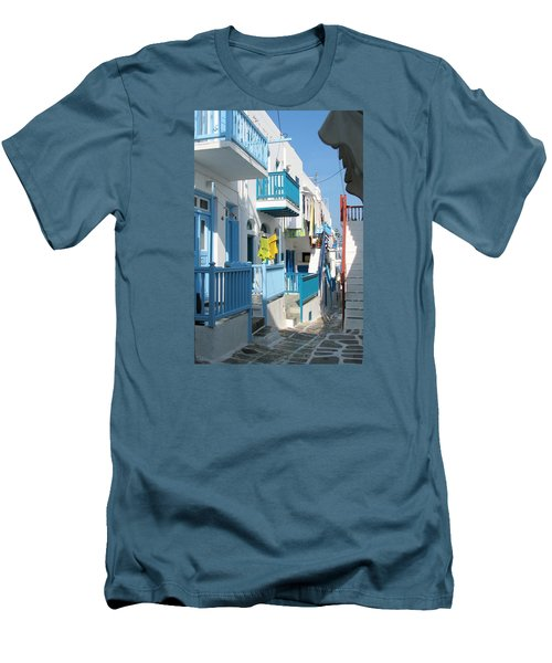 Colorful Mykonos Men's T-Shirt (Slim Fit) by Carla Parris