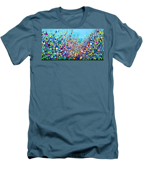 Men's T-Shirt (Slim Fit) featuring the painting Colorful Spring Flowers by Maja Sokolowska