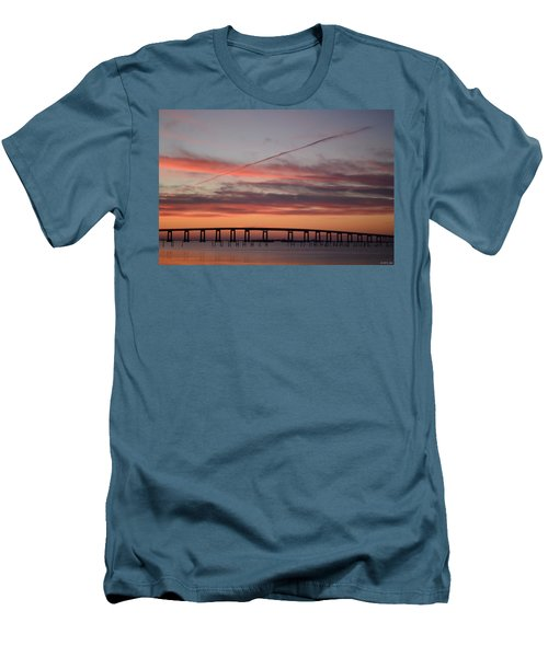 Colorful Sunrise Over Navarre Beach Bridge Men's T-Shirt (Athletic Fit)