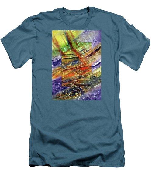 Men's T-Shirt (Slim Fit) featuring the painting Colors Interrupting by Allison Ashton