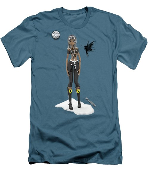 Cool 3d Manga  Girl With Bling And Tattoos In Black Men's T-Shirt (Athletic Fit)