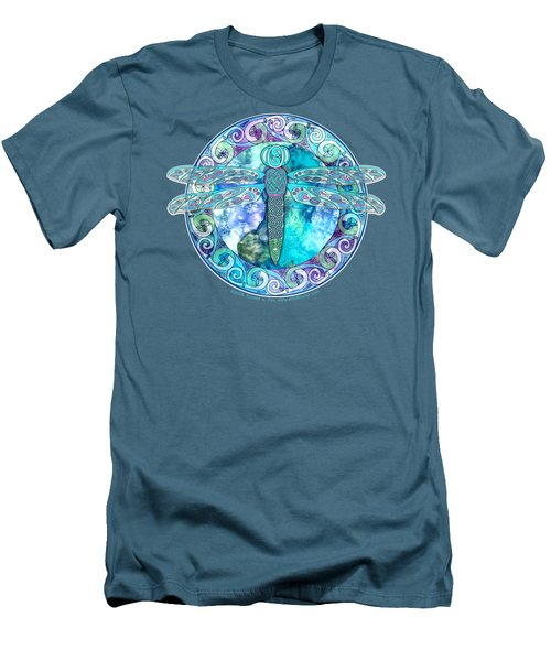 Men's T-Shirt (Slim Fit) featuring the mixed media Cool Celtic Dragonfly by Kristen Fox