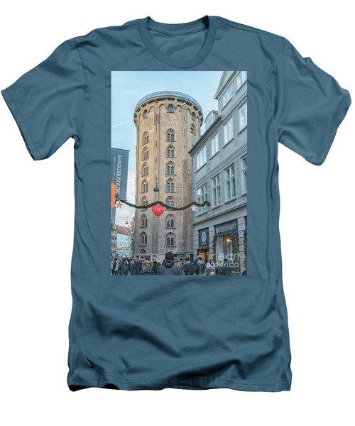 Men's T-Shirt (Slim Fit) featuring the photograph Copenhagen Round Tower Street View by Antony McAulay