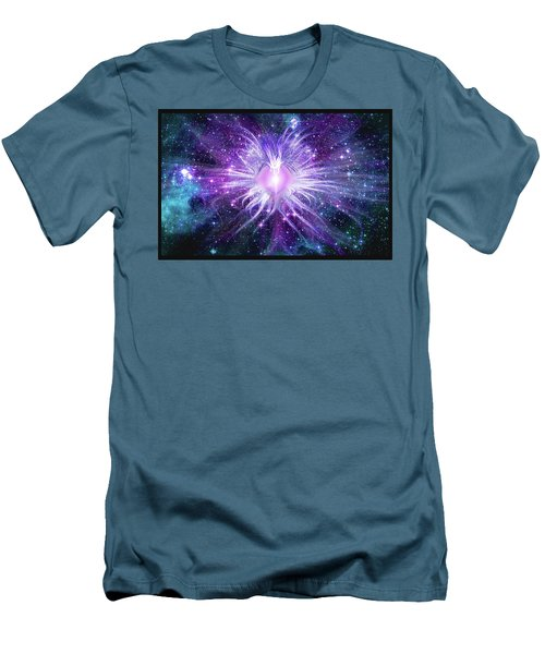 Men's T-Shirt (Athletic Fit) featuring the mixed media Cosmic Heart Of The Universe Mosaic by Shawn Dall
