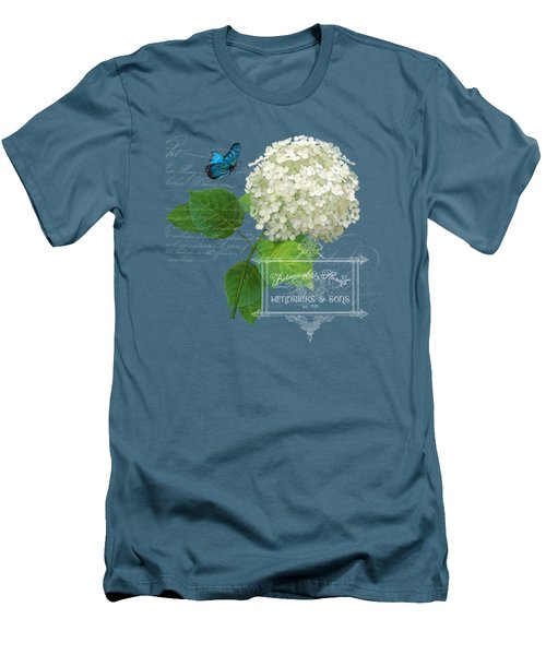 Cottage Garden White Hydrangea With Blue Butterfly Men's T-Shirt (Slim Fit) by Audrey Jeanne Roberts