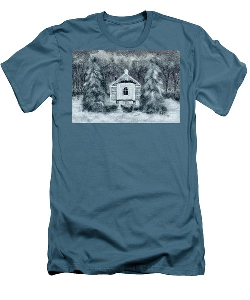 Men's T-Shirt (Slim Fit) featuring the digital art Country Church On A Snowy Night by Lois Bryan