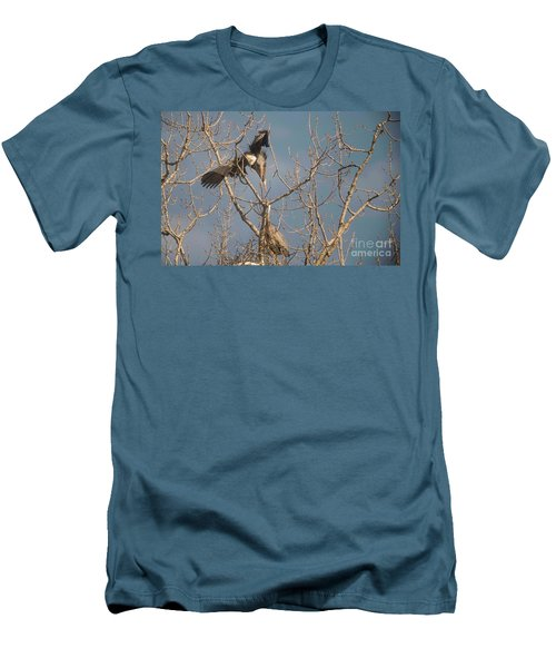 Men's T-Shirt (Slim Fit) featuring the photograph Courtship Ritual Of The Great Blue Heron by David Bearden