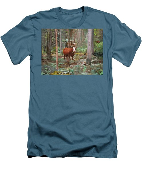 Cows In The Woods Men's T-Shirt (Slim Fit) by Joshua Martin