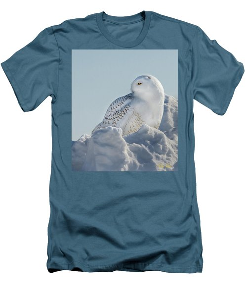 Men's T-Shirt (Athletic Fit) featuring the photograph Coy Snowy Owl by Rikk Flohr