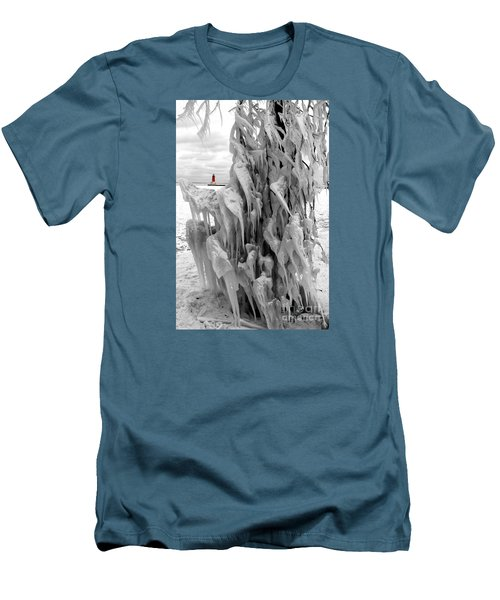 Men's T-Shirt (Slim Fit) featuring the photograph Cradled In Ice - Menominee North Pier Lighthouse by Mark J Seefeldt