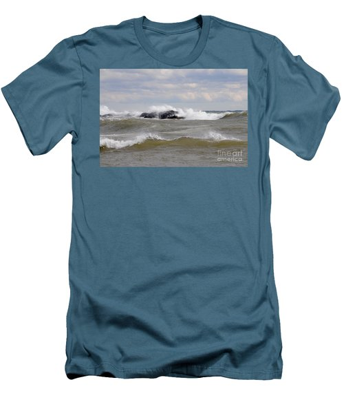Crashing The Reef Men's T-Shirt (Slim Fit) by Sandra Updyke