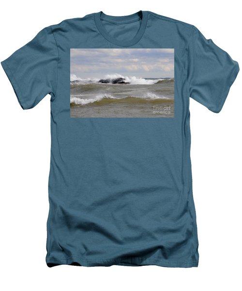 Crashing The Reef Men's T-Shirt (Slim Fit) by Sandra Updyke