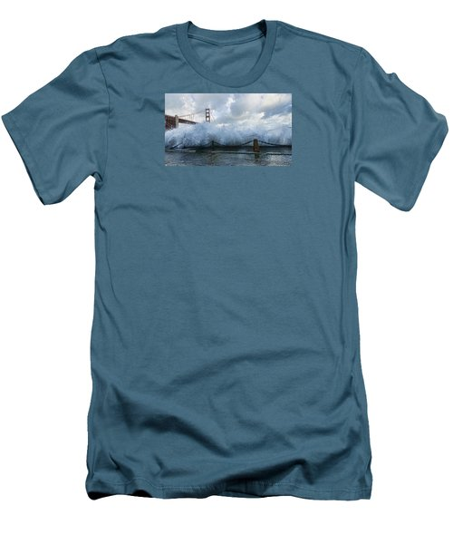 Men's T-Shirt (Athletic Fit) featuring the photograph Crashing Wave Golden Gate Bridge King Tide by Steve Siri