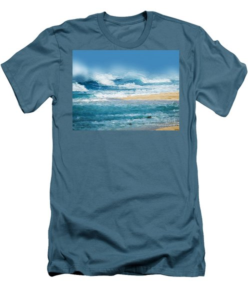 Men's T-Shirt (Slim Fit) featuring the digital art Crashing Waves by Anthony Fishburne