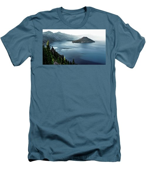Men's T-Shirt (Slim Fit) featuring the photograph Crater Lake Under A Siege by Eduard Moldoveanu