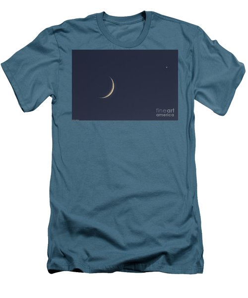 Men's T-Shirt (Slim Fit) featuring the photograph Crescent Moon And Venus by Mitch Shindelbower