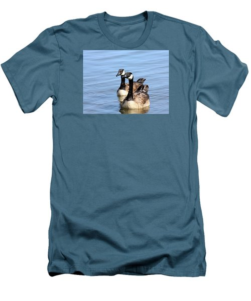 Men's T-Shirt (Slim Fit) featuring the photograph Curious Canda Geese by Sheila Brown