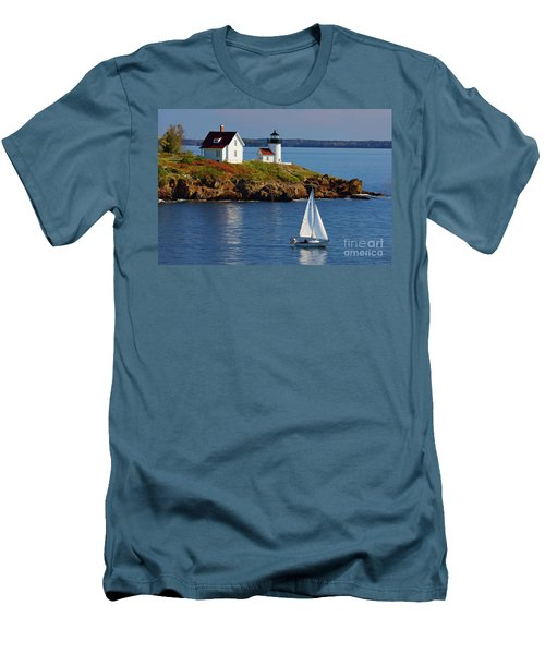 Curtis Island Lighthouse - D002652b Men's T-Shirt (Athletic Fit)