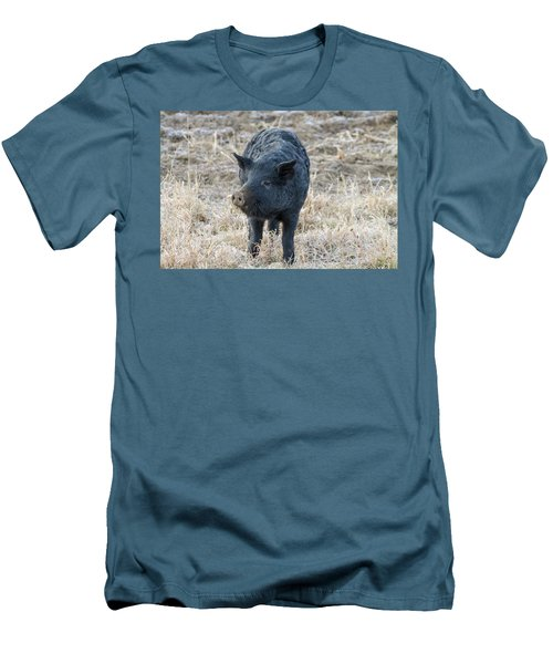 Men's T-Shirt (Slim Fit) featuring the photograph Cute Black Pig by James BO Insogna