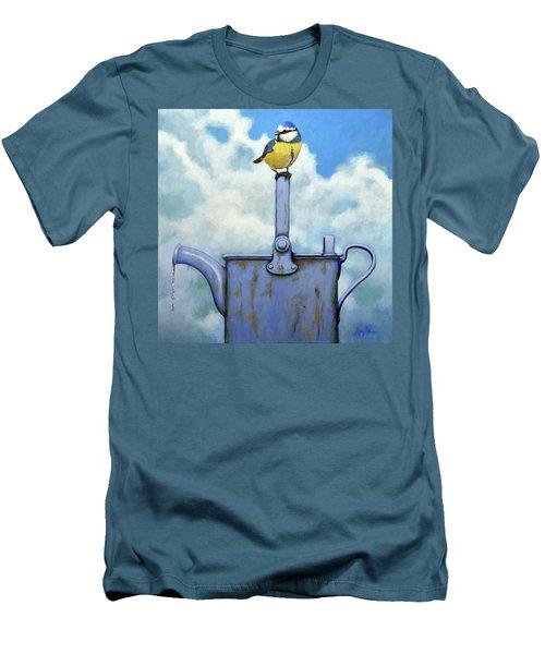 Cute Blue-tit Realistic Bird Portrait On Antique Watering Can Men's T-Shirt (Athletic Fit)