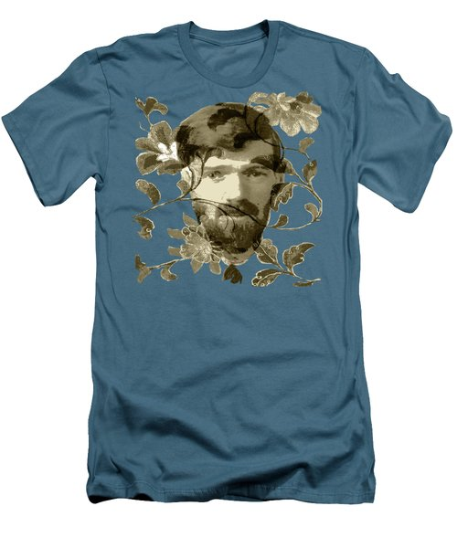 Men's T-Shirt (Slim Fit) featuring the digital art D H Lawrence by Asok Mukhopadhyay