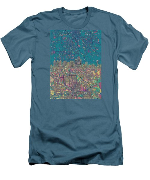 Dallas Skyline Map Green Men's T-Shirt (Athletic Fit)