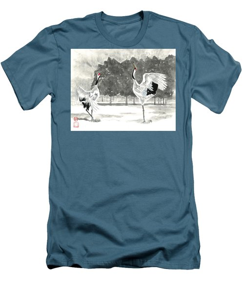 Dancing Crane II Men's T-Shirt (Athletic Fit)