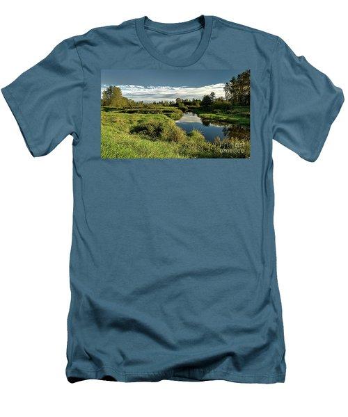 De Boville Slough At Pitt River Dike Men's T-Shirt (Slim Fit) by Rod Jellison