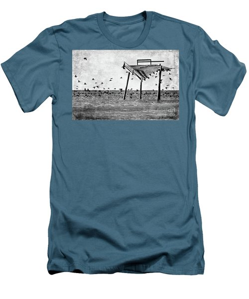 Men's T-Shirt (Slim Fit) featuring the photograph Death Of A Friend - Frisco Pier Outer Banks Bw by Dan Carmichael