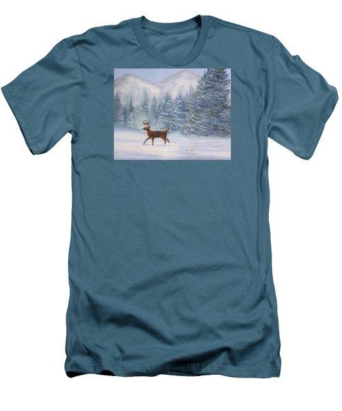 Deer In The Snow Men's T-Shirt (Slim Fit) by Denise Fulmer
