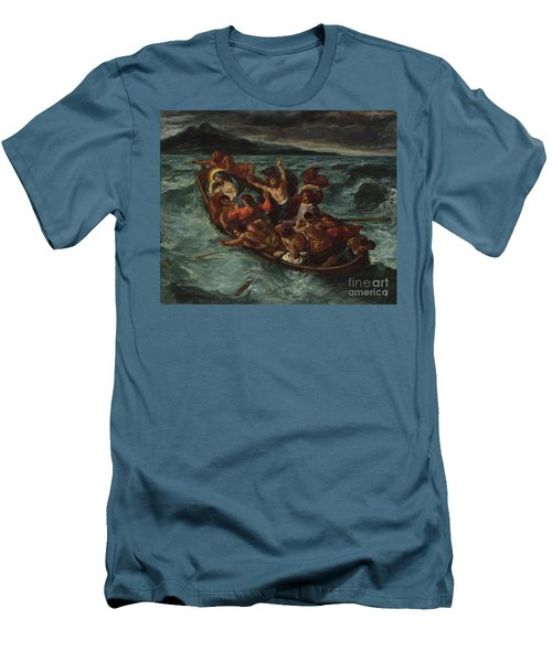 Men's T-Shirt (Athletic Fit) featuring the painting Delacroix Christ Asleep by Granger