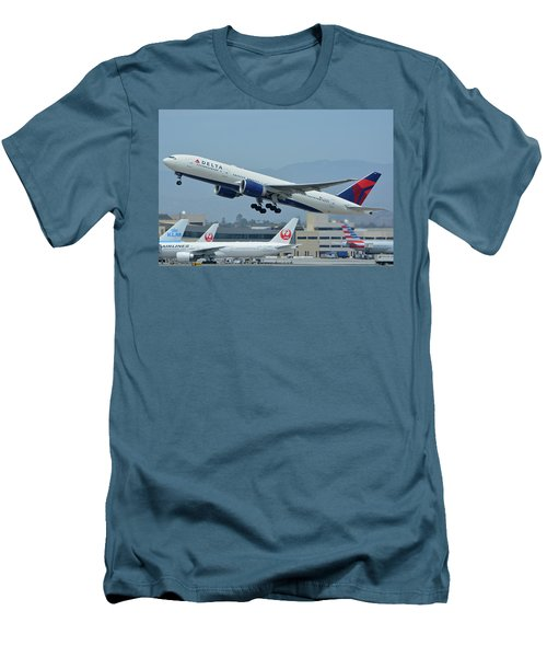 Men's T-Shirt (Slim Fit) featuring the photograph Delta Boeing 777-232lr N703dn Los Angeles International Airport May 3 2016 by Brian Lockett