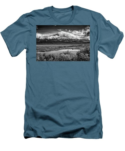 Denali, The High One In Black And White Men's T-Shirt (Athletic Fit)