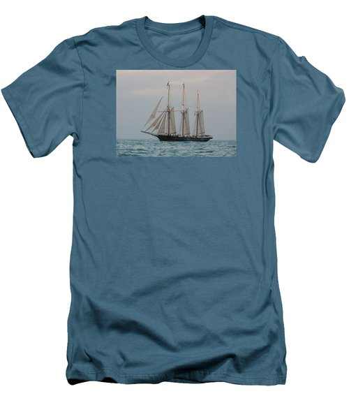 Men's T-Shirt (Slim Fit) featuring the photograph Denis Sullivan Out On An Evening Sail by Janice Adomeit