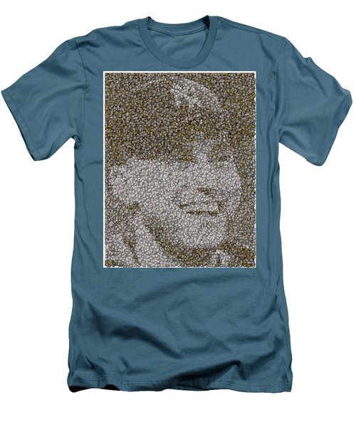 Men's T-Shirt (Slim Fit) featuring the mixed media Derek Jeter Baseballs Mosaic by Paul Van Scott