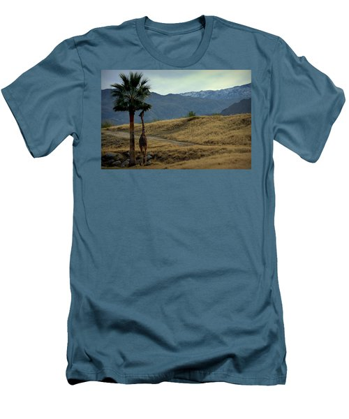 Desert Palm Giraffe 001 Men's T-Shirt (Slim Fit) by Guy Hoffman