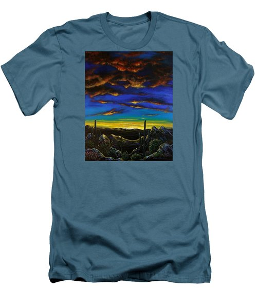 Men's T-Shirt (Slim Fit) featuring the painting Desert View by Lance Headlee