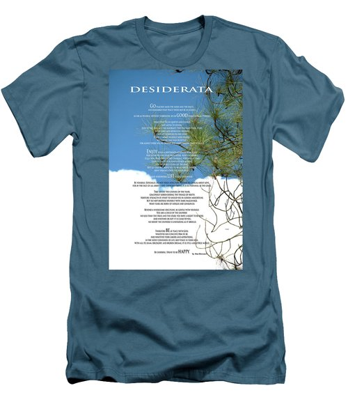 Desiderata Poem Over Sky With Clouds And Tree Branches Men's T-Shirt (Slim Fit) by Claudia Ellis