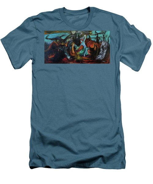 Men's T-Shirt (Slim Fit) featuring the painting Devils Gorge by Christophe Ennis