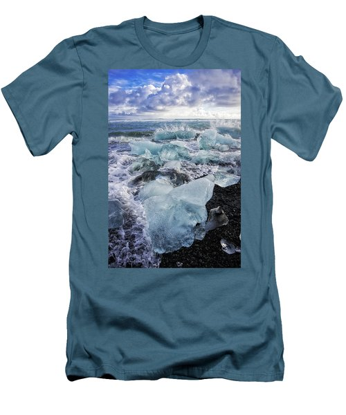 Men's T-Shirt (Athletic Fit) featuring the photograph Diamond Beach Blue Ice In Iceland by Matthias Hauser