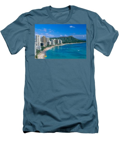 Diamond Head And Waikiki Men's T-Shirt (Slim Fit) by William Waterfall - Printscapes