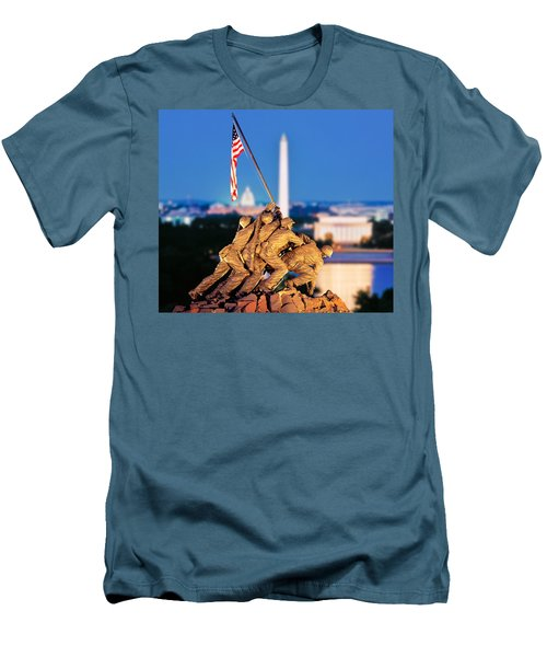Digital Composite, Iwo Jima Memorial Men's T-Shirt (Slim Fit) by Panoramic Images