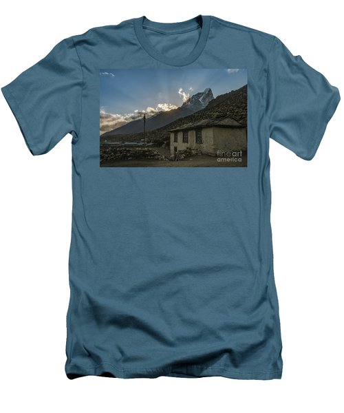 Men's T-Shirt (Slim Fit) featuring the photograph Dingboche Nepal Sunrays by Mike Reid