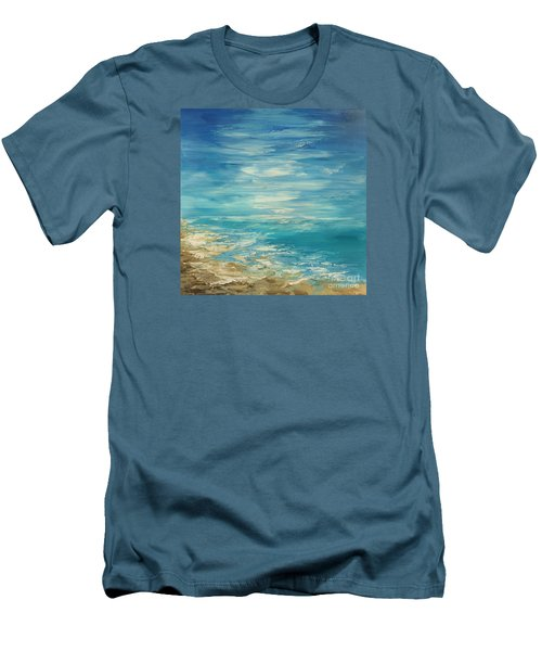Men's T-Shirt (Slim Fit) featuring the painting Distant Deluge by Tatiana Iliina