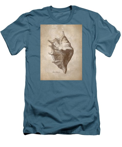 Men's T-Shirt (Slim Fit) featuring the drawing Distressed Antique Nautical Seashell 1  by Karen Whitworth