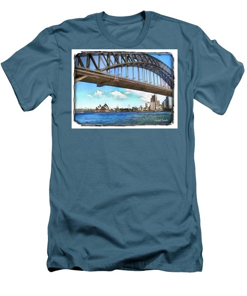 Men's T-Shirt (Athletic Fit) featuring the photograph Do-00284 Sydney Harbour Bridge And Opera House by Digital Oil