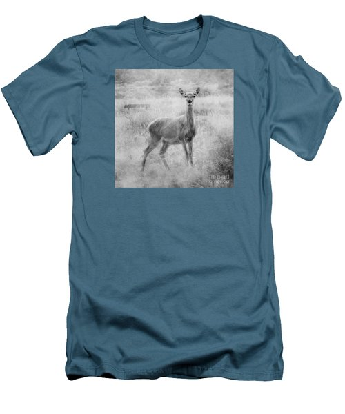 Men's T-Shirt (Slim Fit) featuring the photograph Doe A Deer A Female Deer In Mono by Linsey Williams