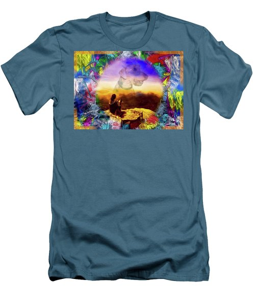 Men's T-Shirt (Slim Fit) featuring the painting Dog Heaven by Ted Azriel