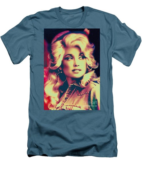Dolly Parton - Vintage Painting Men's T-Shirt (Slim Fit) by Ian Gledhill
